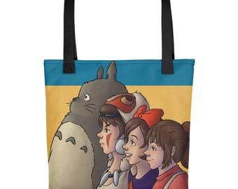 Miyazaki Gals (and neighbor) tote bag