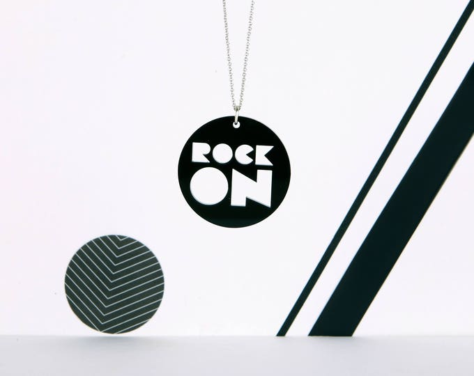ROCK ON mini typographic black acrylic statement necklace