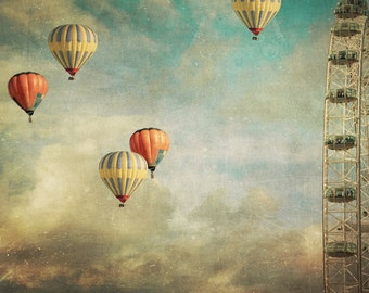 photo print, photography print, home decor, large size wall art, hot air balloons, red yellow, London Eye surreal