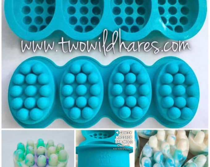 4-MASSAGE BAR Silicone Soap Molds, 4.5 oz Cavities, (16 Total), Professional Grade Mold, Two Wild Hares