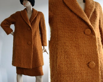 Vintage 1960s Wool Boucle Couture Two-piece Coat and Pencil Skirt