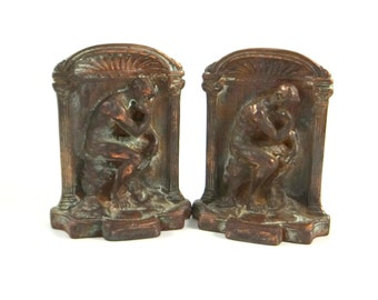 Vintage Cast Iron and Copper Wash Bookends of The Thinker