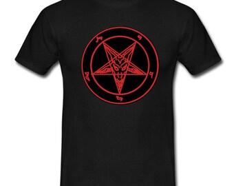 Red Baphomet Pentagram Tee