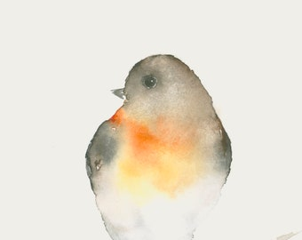 Original Watercolor Painting Robin Redbreast