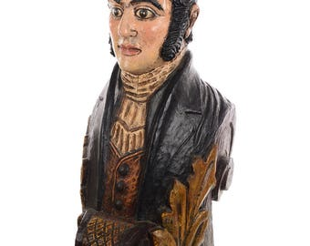 Antique Carved Wood & Painted Ship Figurehead of a Captain