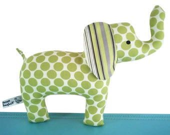 Baby Cloth Elephant Toy with Rattle - Spotty Green with Striped Ear - Baby - Toddler -  Child Friendly - Unisex New Baby Gift