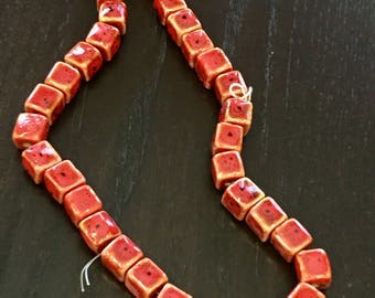 15mm Red Porcelain Cube Beads ... 20 ct.