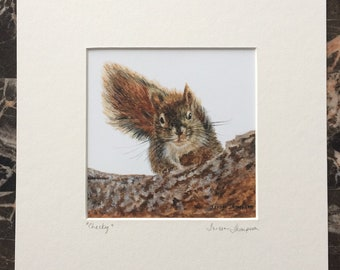 Red Squirrel Giclee Print, cute squirrel art, forest animal art, woodland critter, squirrel art, cute wall art, cute squirrel print, nature