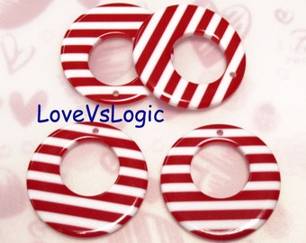 4 Huge Kitsch Retro Hoop Lucite Charms.Red and White Stripes