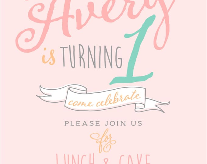Script Arrow & Stripes | First Birthday Party Invitation