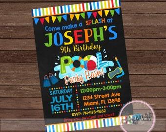 Pool Party Invitation, Pool Birthday Invitation, Pool Birthday Party Invitation, Boys Pool Party Invitation, Pool  Digital File.