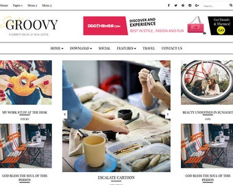 SALE Groovy Fashion Magazine Premade Blogger Template Responsive and Minimal