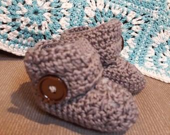 Crochet Brown Baby Booties