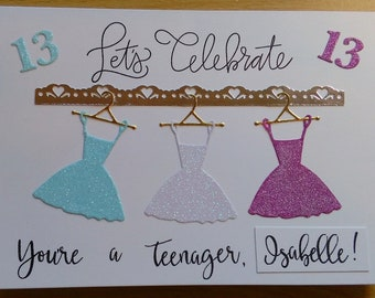 Teenager Girl 13th Birthday; personalised with name printed on the card front (not on separate piece of card as in example); SEE DESCRIPTION