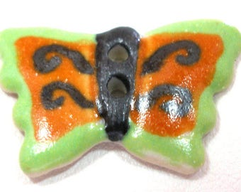 "Ceramic BUTTERFLY Button, Handmade insect button, 7/8"". Orange & green."