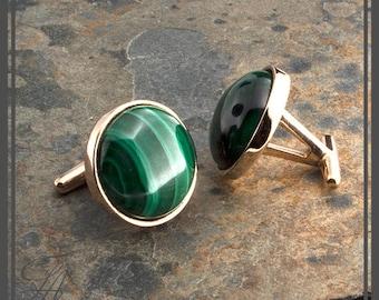 Men Jewelry, Men Cufflinks, Round Malachite Stone, Stone Cufflinks, Bronze Cufflinks, Handmade cufflinks, READY TO CHIP........