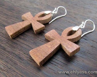 Solid wood ANKH earrings / Egyptian life cross