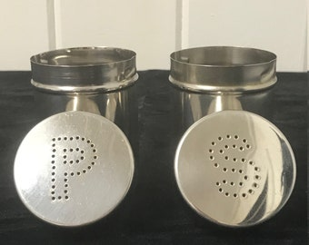 Vintage Stainless Steel Salt and Pepper Shakers, Salt and Pepper Shakers