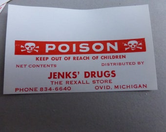 Vintage Gummed Poison Labels from a Mid Michigan Rexall Drug Store (20)