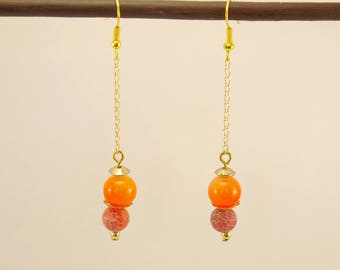 Frosted orange dragon vein Agate earrings, orange glass bead and gold metal