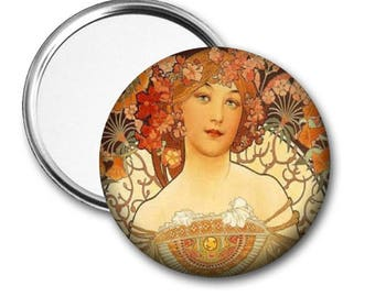 Art Nouveau..Alphonse Mucha..Pocket Mirror.Magnet.Pinback..Unique Gift..Birthday Gift..Party Favor..Fundraiser