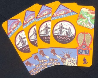 Four Travel Theme Playing Cards - Paris, China, London, New York, Australia