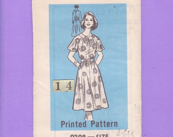 1960s Loose, Gathered Neckline Dress Sewing Pattern/ Mail Order 9398 Womens Tied Neckline Flutter sleeve, house dress, UnCut/ Petite Size 14