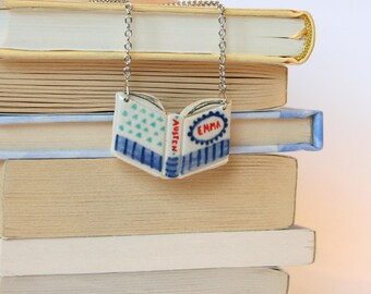 Book Necklace - Jane Austen's Emma (silver chain)