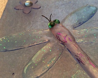 3D DRAGONFLY NIGHTLIGHT Decoupage Blue Stained Glass Night Light D80