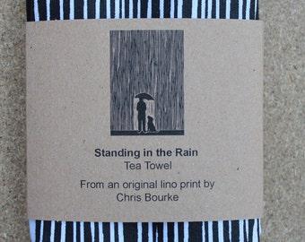 Tea Towel: Standing in The Rain - 100% White Cotton Tea Towel Screen Printed with Lino Print Design