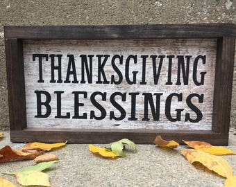 Thanksgiving Blessings Sign | Holiday Sign | Fall Sign | Rustic | Farmhouse
