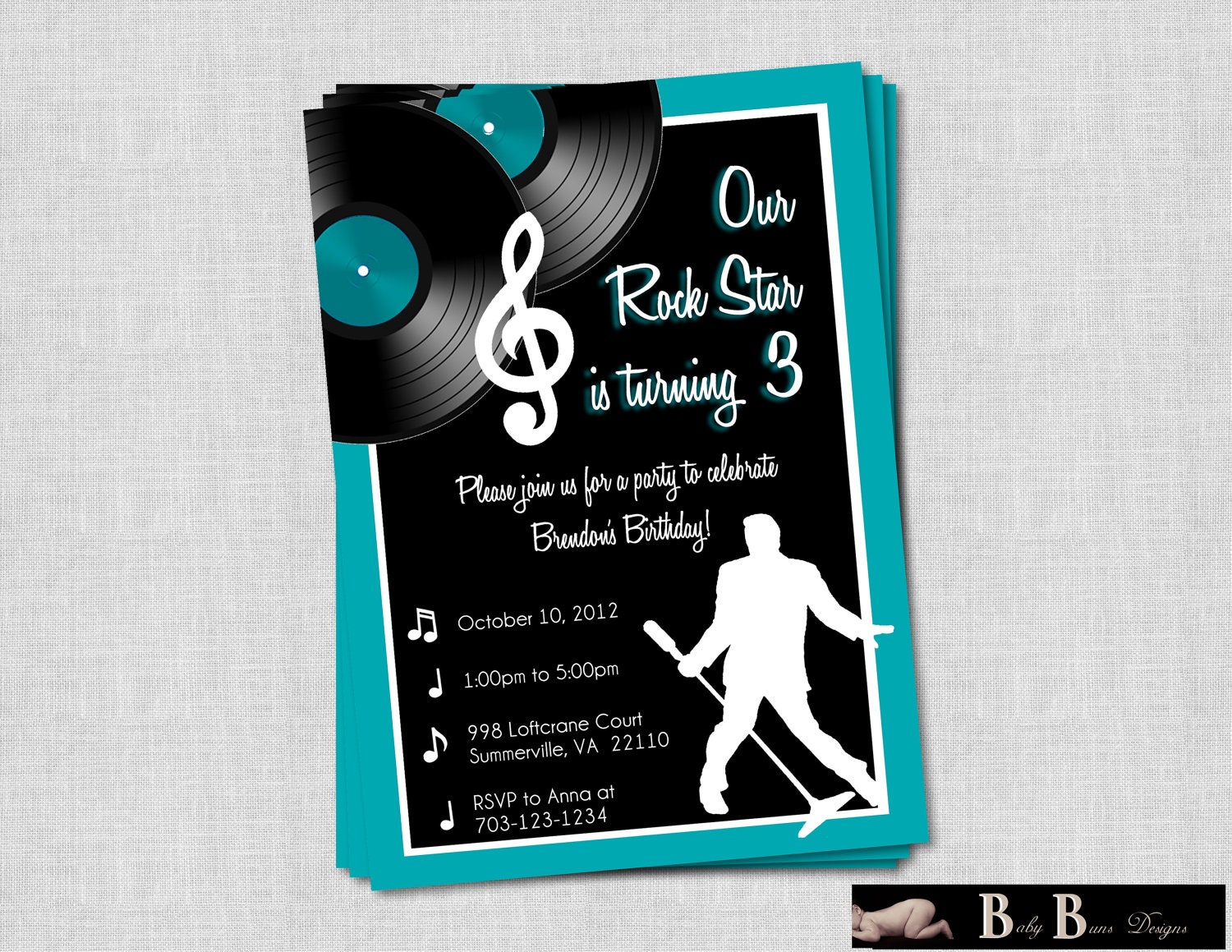 Rock & Roll Music Birthday Party Invitation