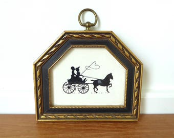 Framed horse and carriage silhouette, horse drawn carriage