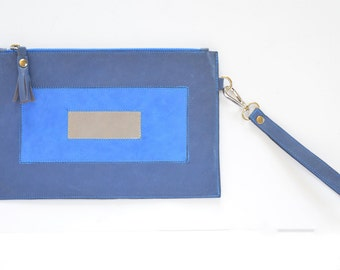 Puzzle - Leather Clutch, leather pouch, leather bag, blue leather clutch, blue leather bag,  blue leather pouch, minimal, geometry design