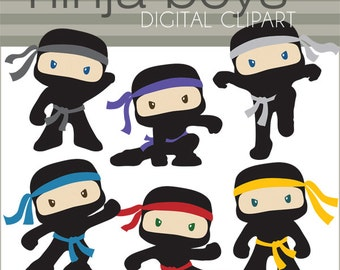 Ninja Clipart -Personal and Limited Commercial- Cute Boy Ninjas with No Weapons Clip art