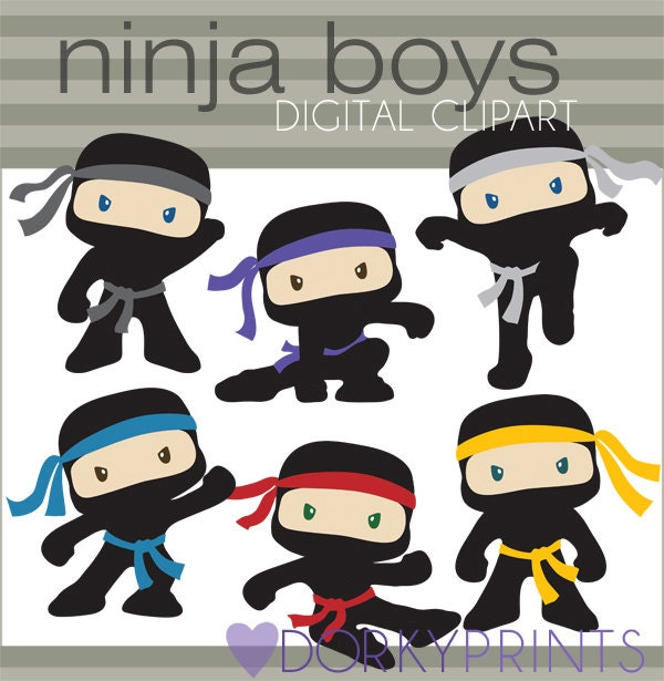 ninja clipart -personal and limited commercial- cute boy ninjas with