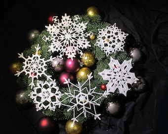 Handmade Crochet Snowflake Ornaments - Box of 6 White Snowflakes