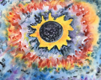 Eclipse 2017 Original watercolor