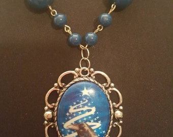 Crow raven porcelain cameo necklace
