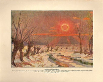 1900 SUN RING ECLIPSE original antique solar celestial astronomy print