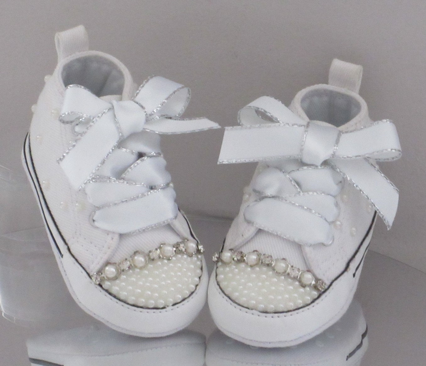 Christening Crib Custom Crystal and Pearl  Bling  Converse. Sizes 1 ... 007dceea1