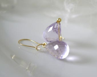 Solid Gold earrings amethyst pimples faceted gold wires earrings Amethyst Pampeln Faceted