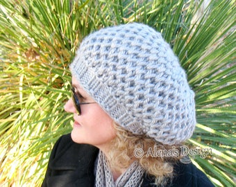 Hat Knitting Pattern 198 - Honeycomb Slouchy Hat Pattern Girls Ladies Women Toddler Child Teen Adult Grey Winter Christmas Gift