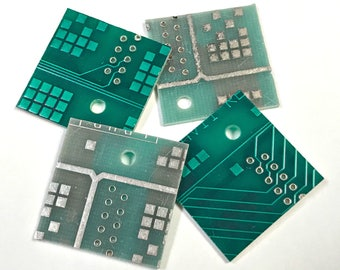 "Vintage RECYCLED Loose Printed Circuit Board Reclaimed (PCB) Green Colors 1"" Square Pkg4 PCB15"