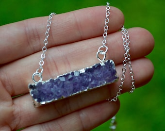 Imperfect Light Amethyst Druzy Bar . Silver . Necklace