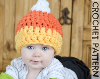 CROCHET HAT PATTERN - Candy Corn Halloween Beanie