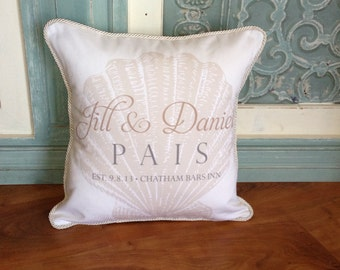 Personalized Wedding Pillow with Scallop Shell (Cape Cod Style)