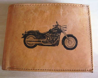 """Mankind Wallets Men's Leather RFID Blocking Billfold w/ """"Harley Davidson Motorcycle"""" Image~Makes a Great Gift!"""
