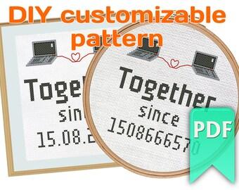 Together since ... unix epoch time - DIY customizable pattern. Valentine's gift for programmers, nerdy cross stitch design