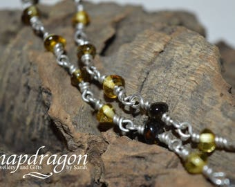 Genuine Amber and Sterling silver wire linked bracelet